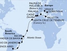 21 Noches por Argentina, Brasil, España, Malta, Croacia, Italia a bordo del MSC Poesia
