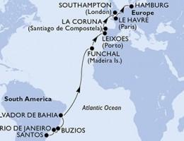 20 Noches por Brasil, Portugal, España, Francia, Francia, Alemania a bordo del MSC Magnifica